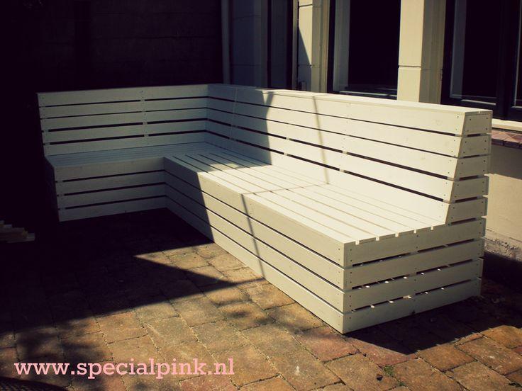 #hoekbank Dirk #wit #hout #specialpink #white