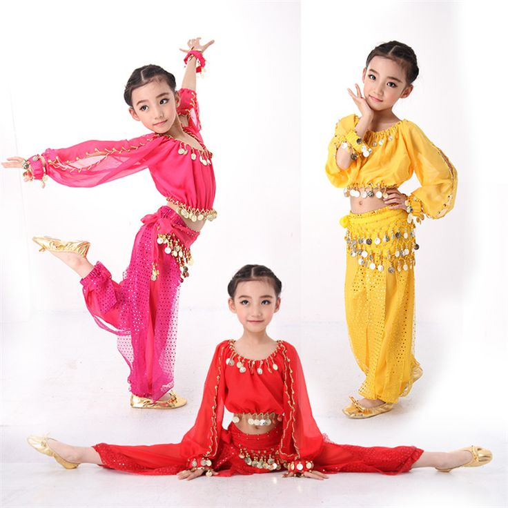 4PCS/SET Belly Dance Costumes Indian Dress for Children Kids Belly Dance Costumes Bollywood Dance Girls Gift S-XXL Long Sleeves(China (Mainland))