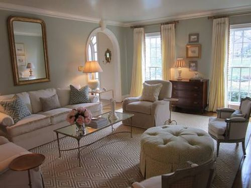 Charlotte Living Room By Phoebe Howard Designs The Soft Color On The Wall Mirror New And Antique Pieces Mixed And The Lovely Neutral And Light Rug Make