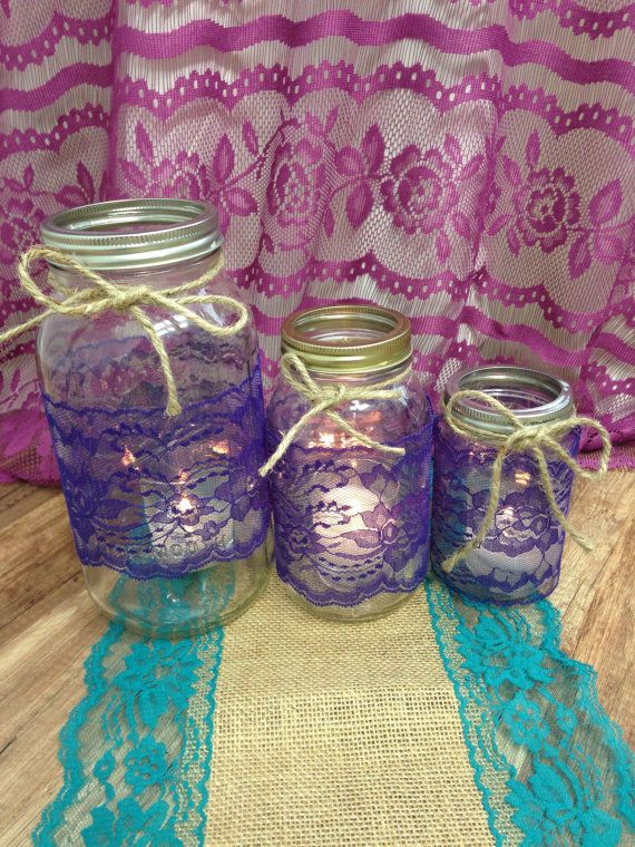 Purple Lace Trim Mason Jar Lace4 inch wide 10 by LovelyLaceDesigns