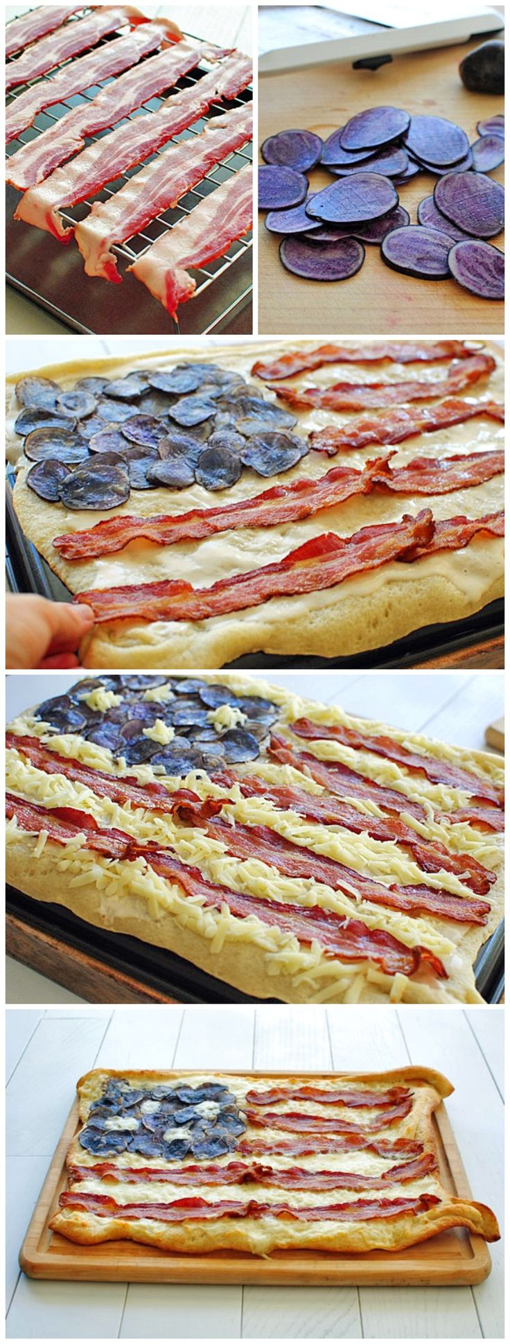 Bacon Flag Pizza. I Think I would skip the purple potato slices and just use another meat to give the same idea
