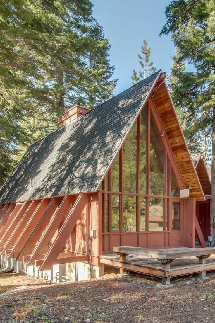 Stunning Pet Friendly A Frame Rental With A Hot Tub In North Tahoe City California Architecture A Frame Cabin A Frame House