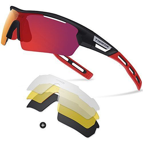 131d176f51342 Torege Sports Sunglasses Polarized Glasses For Man Women Cycling Running  Fishing Golf TR033 (Black Red tips Red lens)