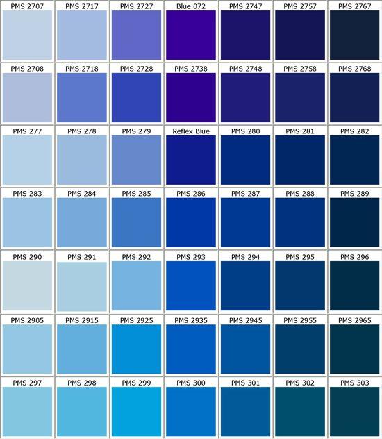 Pantone Blues - loose color spectrum for bridesmaid dresses