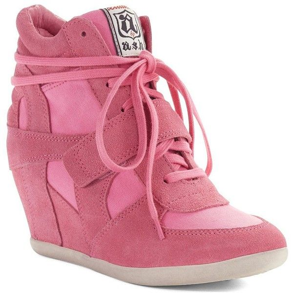 ASH Bowie Wedge Sneakers ($136) ❤ liked on Polyvore featuring shoes, sneakers, pink, high top velcro sneakers, wedge sneakers, leather sneakers, velcro sneakers and pink high top sneakers