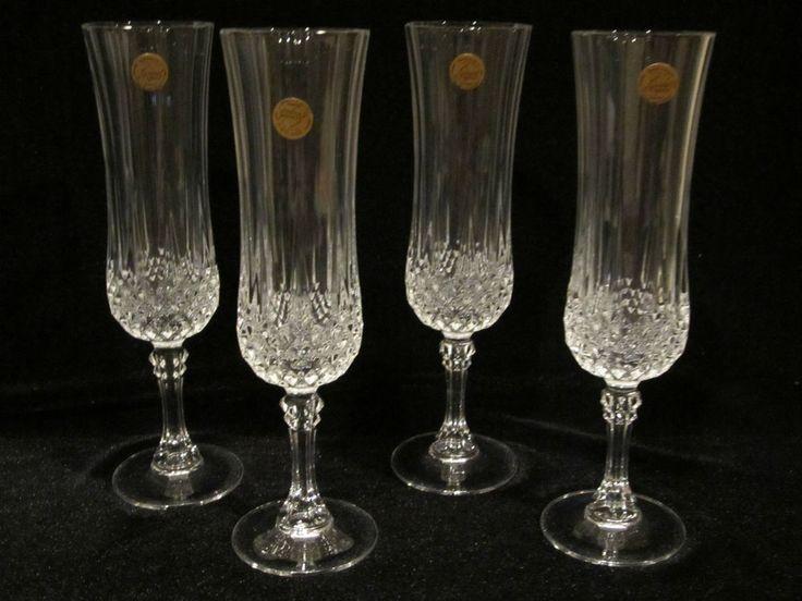 Crystal Champagne Stemmed Flutes Cristal d Arques Longchamp #CrystaldArques