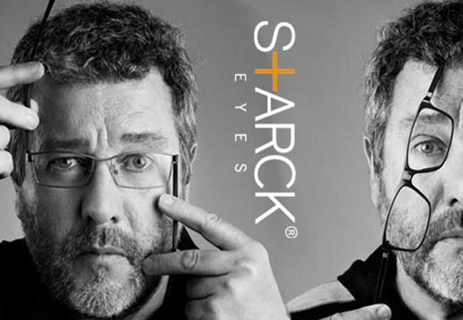 """With Starck Eyes, Philippe created revolutionary, ergonomic, """"bionic"""" reading glasses inspired by the joints of the human body. But above all, he emphasizes, glasses are neither a fashion accessory nor a mere frill, they fulfill an obligatory function. Available at TheAspecs.com"""