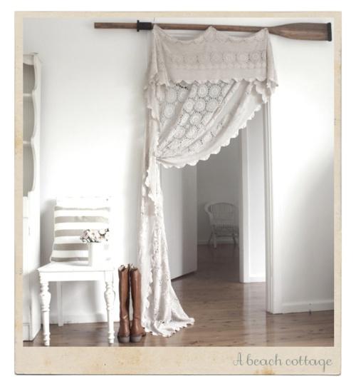 beach cottageDecor, Ideas, Closets Doors, Crochet Curtains, Beach Cottages, Vintage Lace, Curtains Rods, Lace Curtains, Room