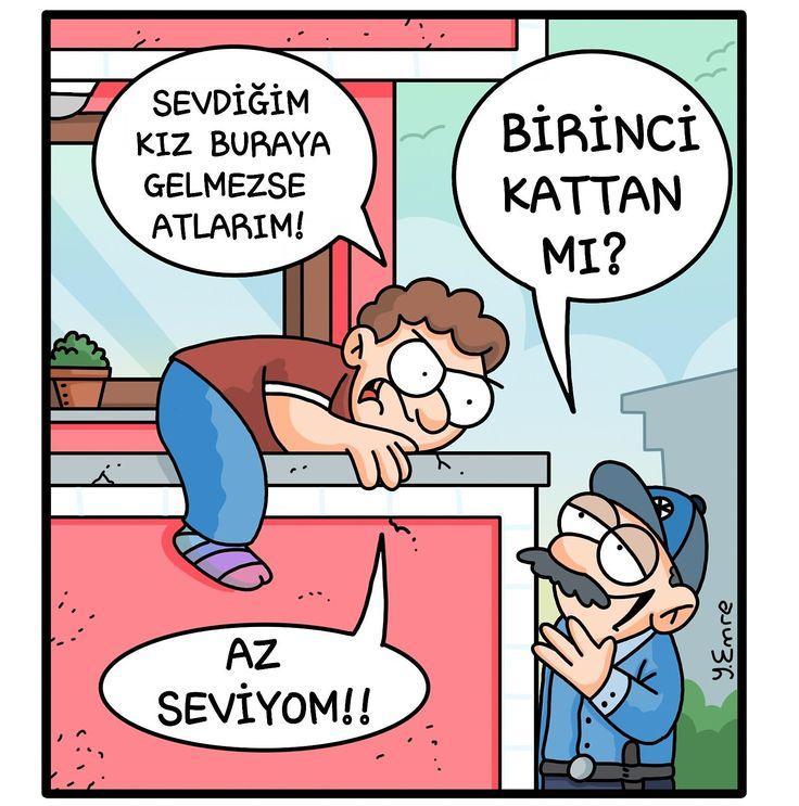 - Sevdiğim kız buraya gelmezse atlarım! + Birinci kattan mı? - Az seviyom!! #karikatür #mizah #matrak #komik #espri #şaka #gırgır #komiksözler