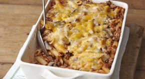 Πέννες με κιμά, μανιτάρια και τυρί στο φούρνο