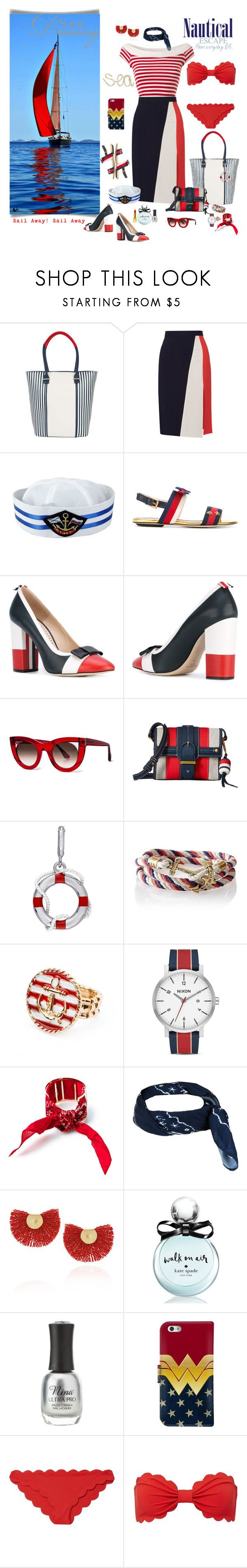 """Come sail away"" by deborah-518 ❤ liked on Polyvore featuring Pia Rossini, Tanya Taylor, Prabal Gurung, Gucci, Thom Browne, Thierry Lasry, Tory Burch, Laura Ashley, Mark & Graham and Oxford"