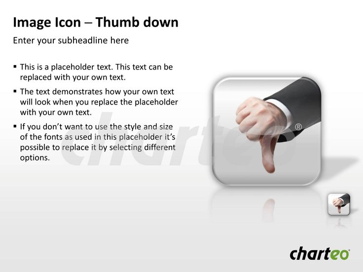 State your opinion with the help of our Thumb Down or Thumb Up Photo Icons for PowerPoint. Download now at http://www.charteo.com/en/PowerPoint/Backgrounds-Images/Photo-Icons/Image-Icon-Thumb-down-PowerPoint.html