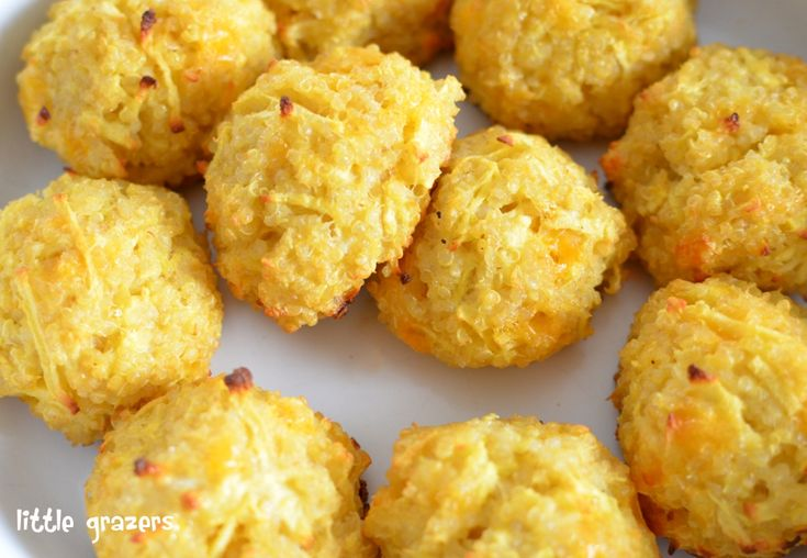 Apple & Cheese Quinoa Balls: 1C cooked quinoa, 1 grated apple, 1/4C cheddar, 1 beaten egg, olive oil. mix, form balls and bake until golden.