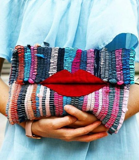 Red Lips Boho kourelou loom handmade wristlet purse