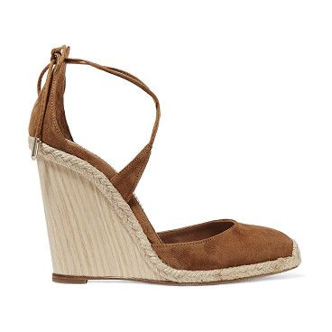 On SALE at 50% OFF! Karlie Raffia-trimmed Suede Wedge Sandals by Aquazzura. Italian sizing Wooden wedge heel measures approximately 110mm/ 4.5 inches . Tan suede . Ties at ankle . Designer colo...