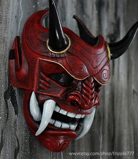 Samurai Assassin Dämon Oni BB Gun Airsoft Maske, Halloween Kostüm Cosplay Ninja Krieger Teufel Böse Hannya Kabuki Home Decor Wandmaske DA01