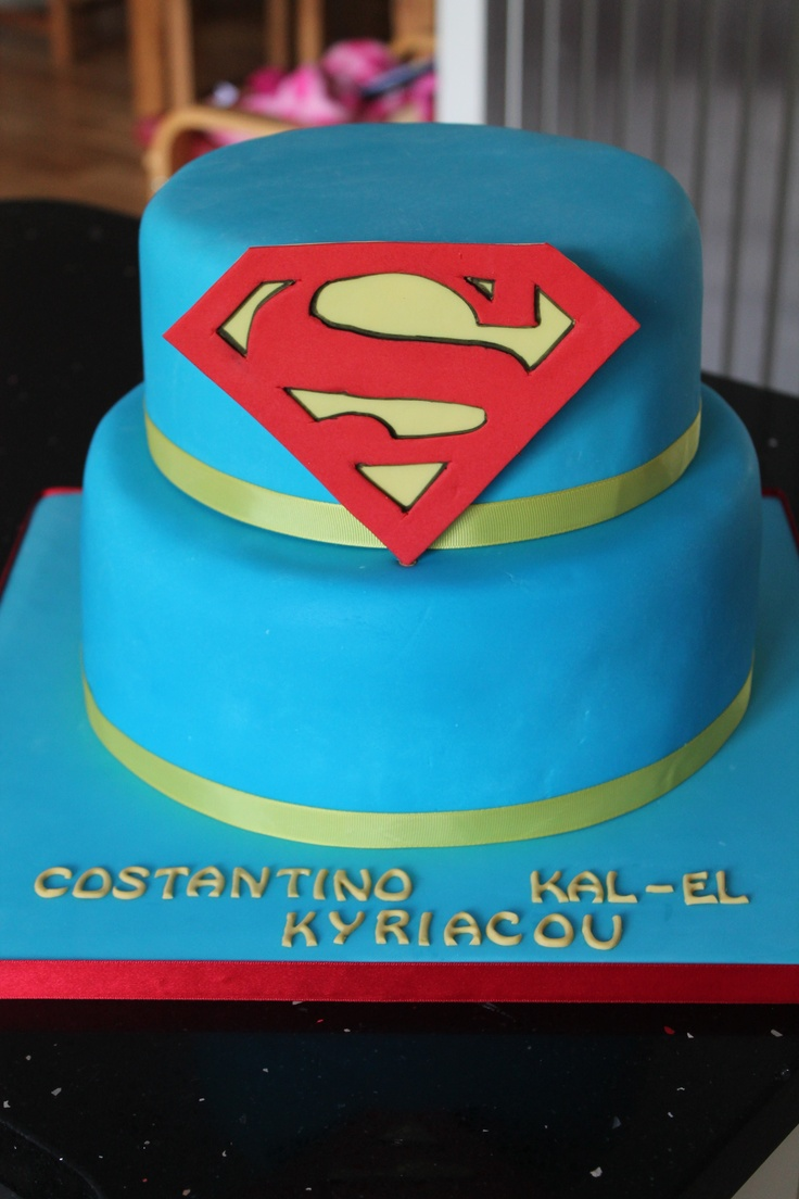 "Costantino's Christening cake. Daddy is a big Superman fan, hence the middle name ""Kal- El""!"