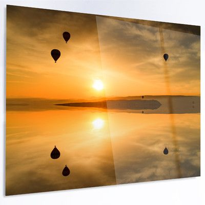 """DesignArt 'Flying Balloons and Reflection' Photographic Print on Metal Size: 40"""" H x 48"""" W x 1"""" D"""