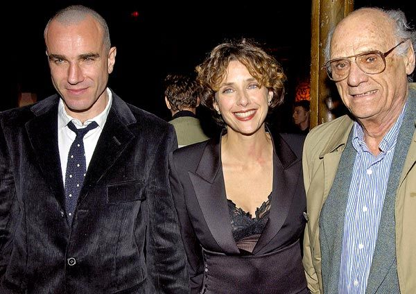Daniel Day-Lewis with his wife actress Rebecca Miller and father-in-law the late playwright Arthur Miller.