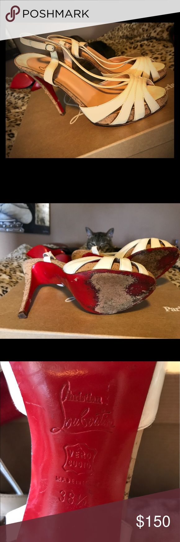 CHRISTIN LOUBOUTIN CHRISTIN LOUBOUTIN STRAPPY HEELS SZ. 38.5 Used for many years but still in great shape & has lots of life left! No box or dust bag A/X Armani Exchange Shoes Sandals