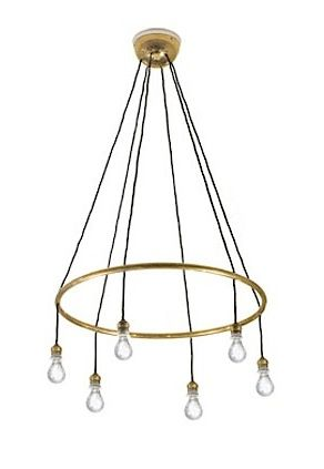The Goldman Chandelier by Adolf Loos is available through Woka Lamps Vienna; $3,306 by special order, available in brass or nickel plate, with silk cord.