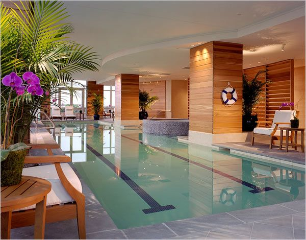 Indoor lap pool, great for aquasize...I love the touch of
