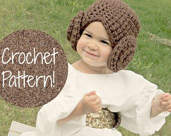 CROCHET PATTERN. Star Wars Princess Leia Hat Crochet Wig Pattern. Preemie. Baby. Toddler. Child & Adult Pattern included!