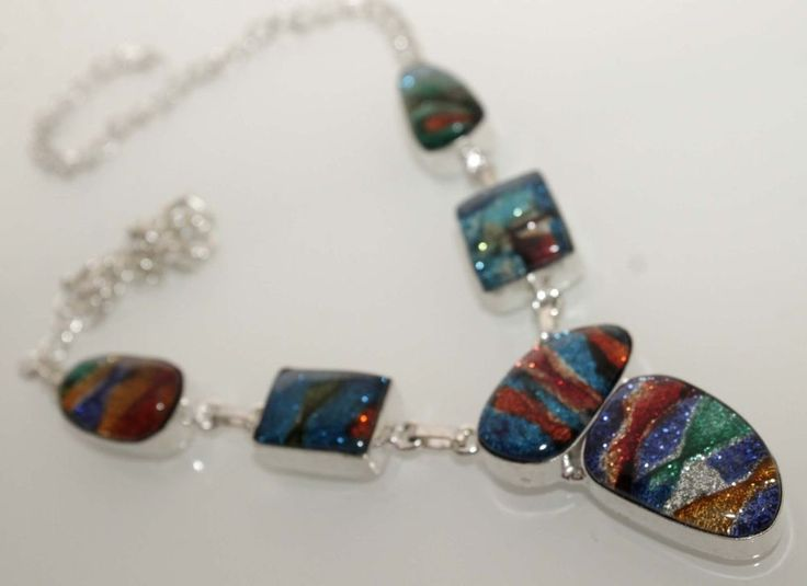 TRENDY WEAR COLORFUL DYCHO GLASS 925 STERLING SILVER OVERLAY NEW NECKLACE NE503 #Handmade