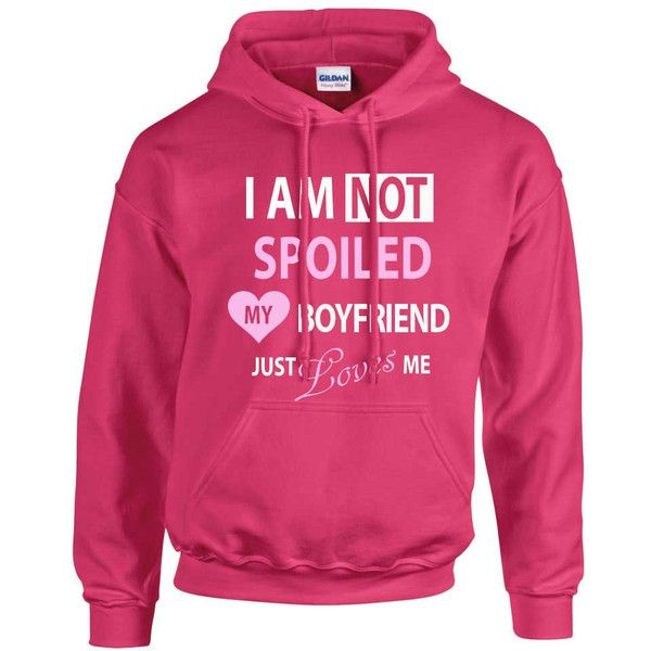 Girlfriend Hoodie I'm Not Spoiled My Boyfriend Just Loves Me Hot Pink... ($32) ❤ liked on Polyvore featuring tops, hoodies, grey, sweatshirts, women's clothing, boyfriend girlfriend hoodies, hooded sweatshirt, hot pink top, hooded pullover and hot pink hoodies