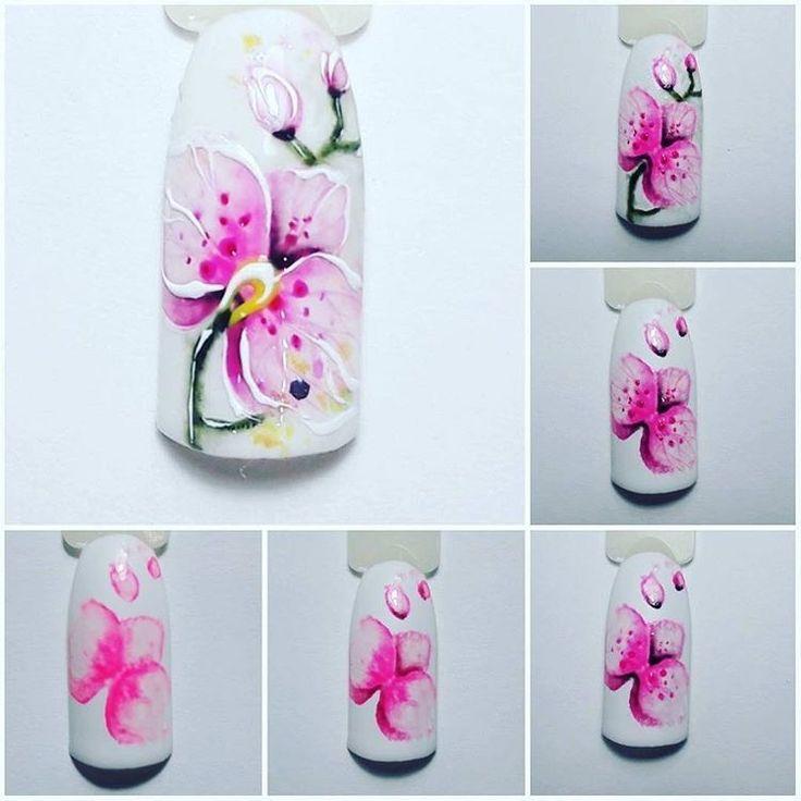 Орхидеи на ногтях шеллаком фото пошагово имеют