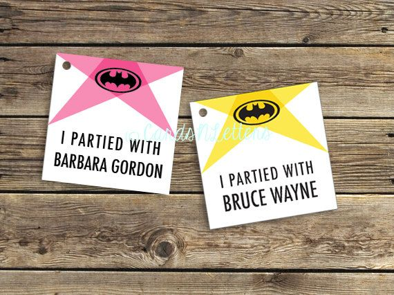 Bruce Wayne Batman batgirl Party Favor custom by CardsnLetters