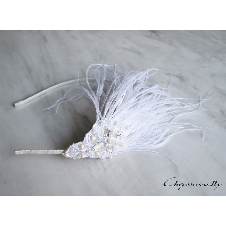 WEDDING | Chryssomally || Art & Fashion Designer - Handmade bridal headpiece with feathers, pearls and Swarovski crystals
