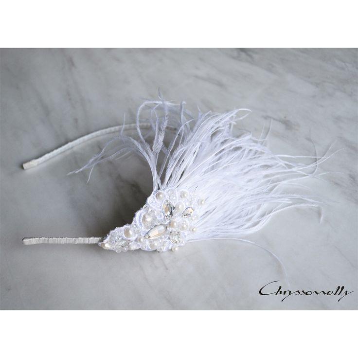 WEDDING | Chryssomally || Art & Fashion Designer - Handmade bridal headpiece with feathers, pearls and Swarovski crystals