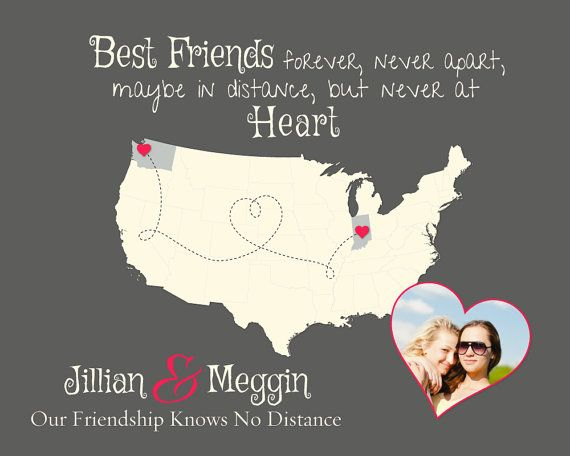 Custom Best Friend Present, Long Distance Friend Gift, Christmas Gift Idea for Best Friend, Friendship Quote Map Art, Moving Away Present