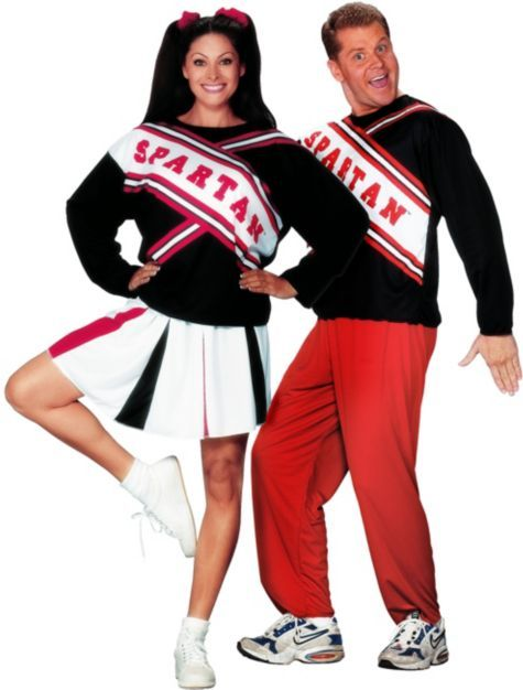 SNL Spartan Cheerleaders: Women's Spartan Cheerleader Costume ($24.99) & Men's Spartan Spirit Cheerleader Costume ($24.99) Couples Costumes - Party City