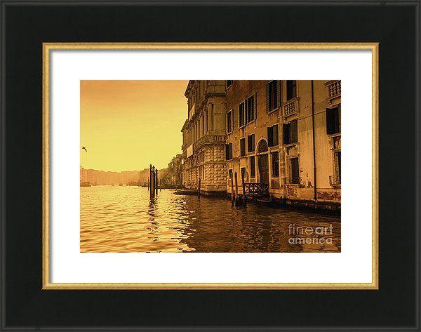 Morning In Venice Sepia By Marina Usmanskaya Framed Print featuring the photograph Morning In Venice Sepia by Marina Usmanskaya #marinausmanskayafineartphotograph #homedecor #homedesign #artforprint #artforhome #venice #goldenhour #italy #fineartprints