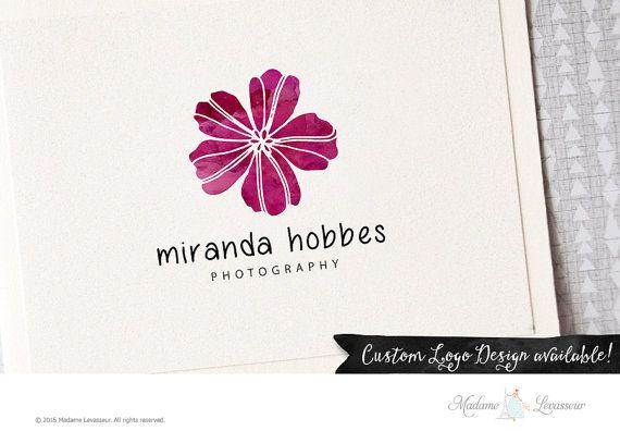 premade logo design flower logo watercolor by MadameLevasseur