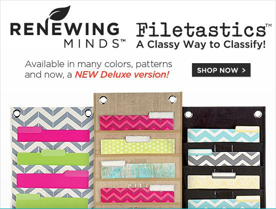 Renewing Minds(TM) Filetastics(TM) - A Classy Way to Classify - Available in many colors, patterns and now. a NEW Deluxe version!