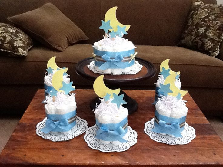 Moon and Stars Whimsical Diaper Cake Baby by bearbottomdiapercake