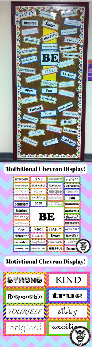 $5 Motivational Classroom Door / Bulletin Board display with character words for students.