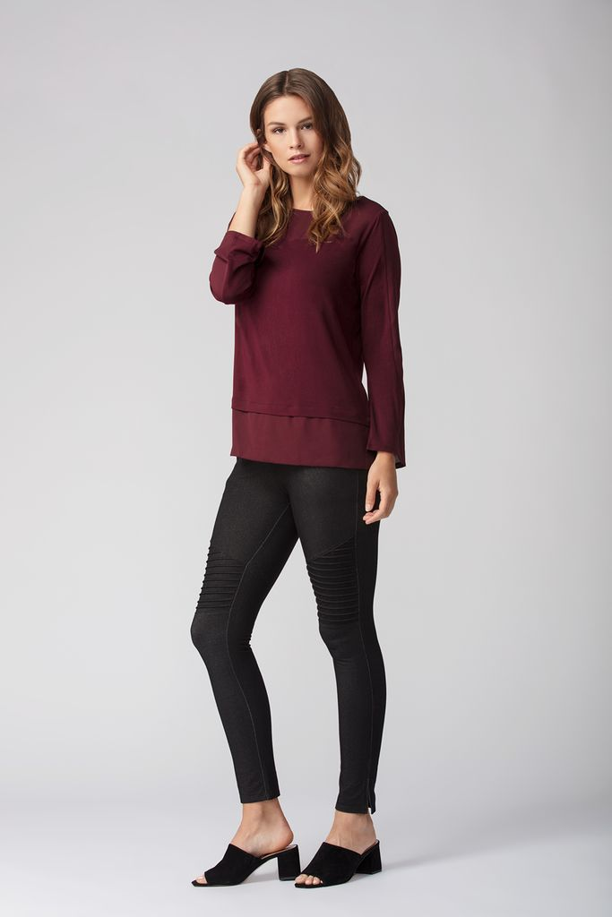 Womens Organic Bamboo Viscose Tops in merlot - LNBF Sustainable Clothing Designed in Canada