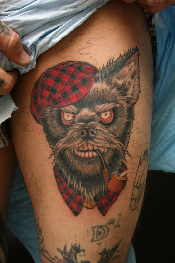 Dog tattoo ideas for women - Black Ink Smoking Dog Tattoo On Left Thigh