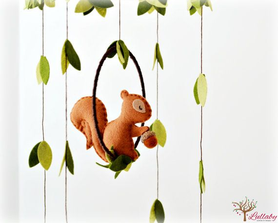Squirrel mobile  woodland  Nursery baby mobile  by LullabyMobiles