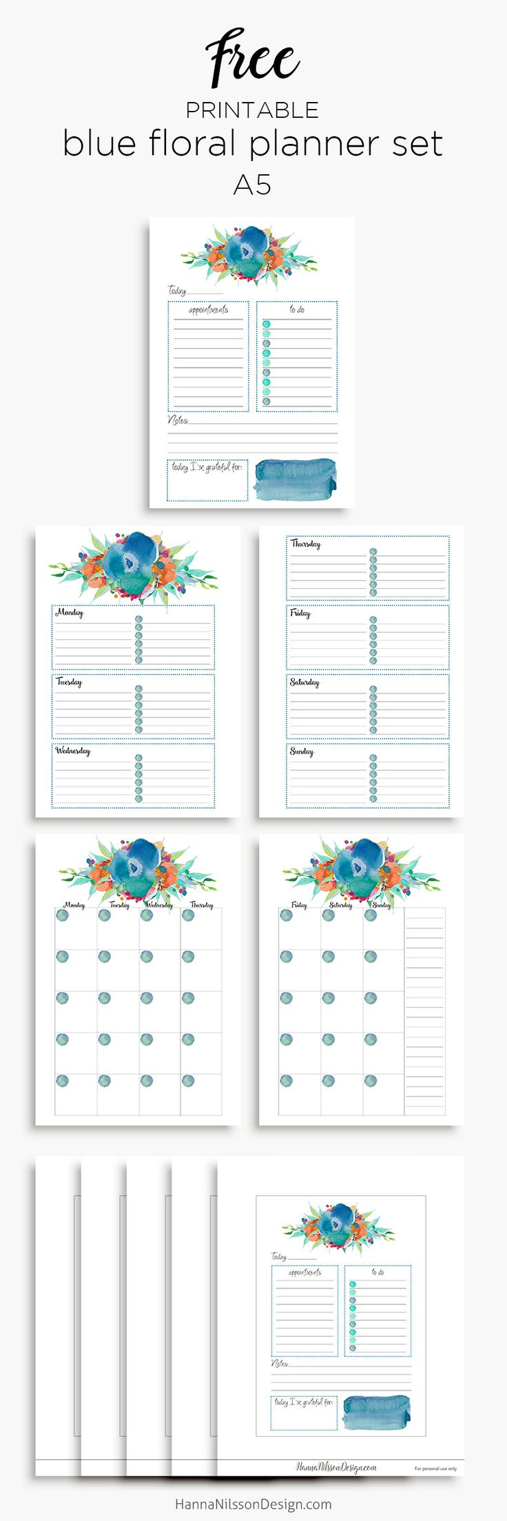 Free Printable Blue Floral Planner Calendar Inserts | A5 and Personal Size | Hanna Nilsson Design {newsletter subscription required}