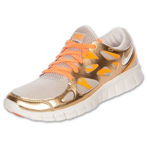 NIKE Women's Free Run+ 2 Premium Running Shoes, Birch/Metallic Gold/Bright Citrus