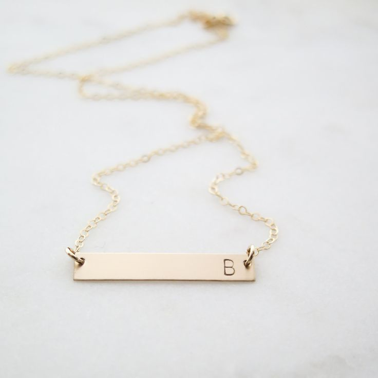Custom Initial Gold Bar Necklace - Simple, Dainty Letter Hand Stamped Jewelry - by Betsy Farmer Designs