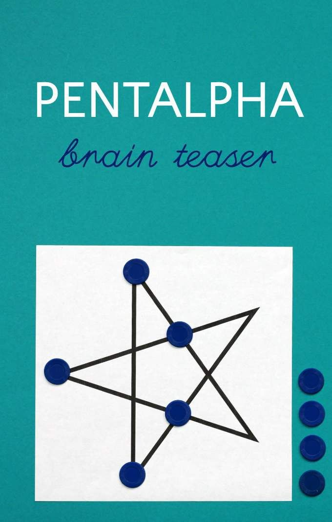 Pentalpha puzzle is a brain teaser for kids and families from Crete. Looks simpler than it is.