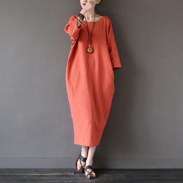 11 color de lino del algodón vestido. 2016 del otoño del verano mujeres ocasionales del Vestido flojo, de tres cuartos Vestido Vintage Vestido más el tamaño XL-5xl 6XL