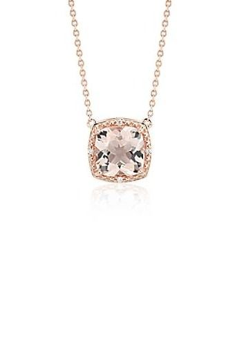 Chic and elegant, this necklace shines with a cushion cut morganite gemstone accented by diamonds framed in 14k rose gold.