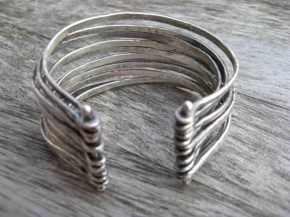 Forged artisan sterling silver cuff by LisaColbyMetalsmith on Etsy